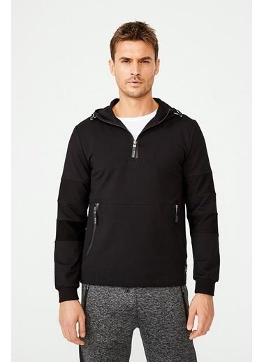 Avva Erkek  Kapüşonlu Yaka Fermuarlı Sweatshirt A02Y1075 Siyah